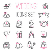 Outline Wedding Day Black And Pink Marriage Icons Set Of Icons For Engagement Get Married Love And Romantic Event Bride Groom Heart Vector Illustration.