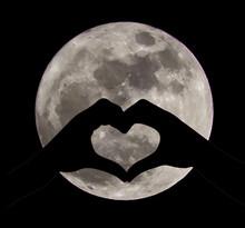 Silhouette Of Heart Shape Under Full Moon