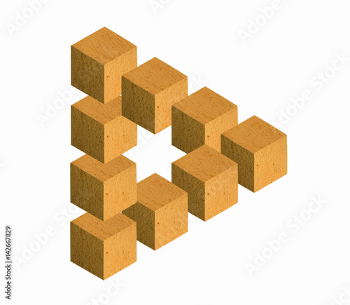 There is a impossible triangle, made from wood cubes. White background.