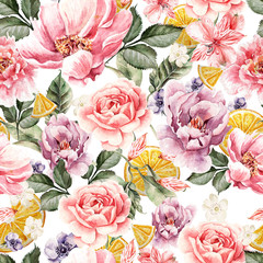 Fototapeta Seamless pattern with watercolor flowers. Peonies, anemone, citrus and roses.