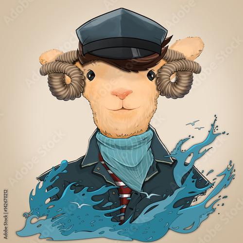 owca-marynarz-morskie-fale-u-dolu-ilustracji