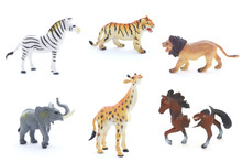 Collage Of Toy Animals Isolate...