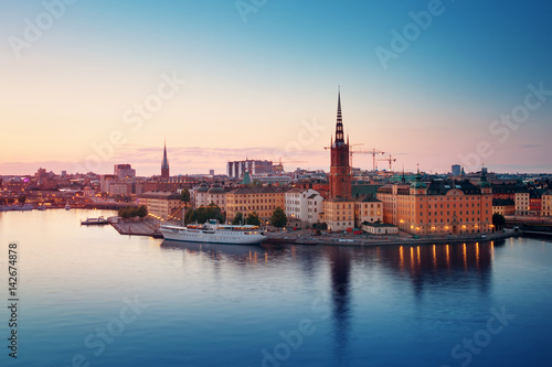 Photo  view at Stockholm at night in summer