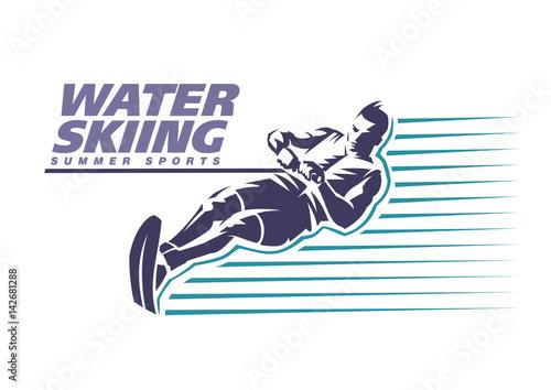 Vászonkép Water skiing. Sport emblem