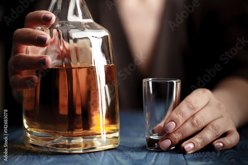 Poster Bar woman in depression, drinking alcohol on dark background