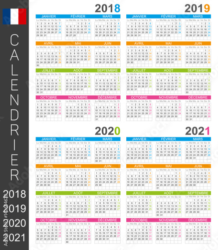 Calendar 2018 2019 2020 2021 French Calendar Template For Years