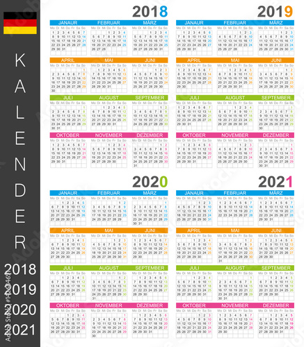 calendar 2018 2019 2020 2021 german calendar template for years 2018 2021 week