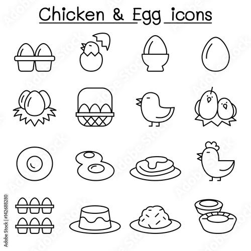 Valokuva Chicken & Egg icon set in thin line style