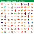 100 animal world set, cartoon style