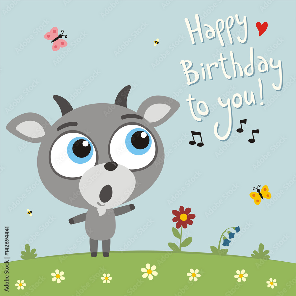 Photo & Art Print Happy birthday to you! Funny goat sings birthday song   EuroPosters