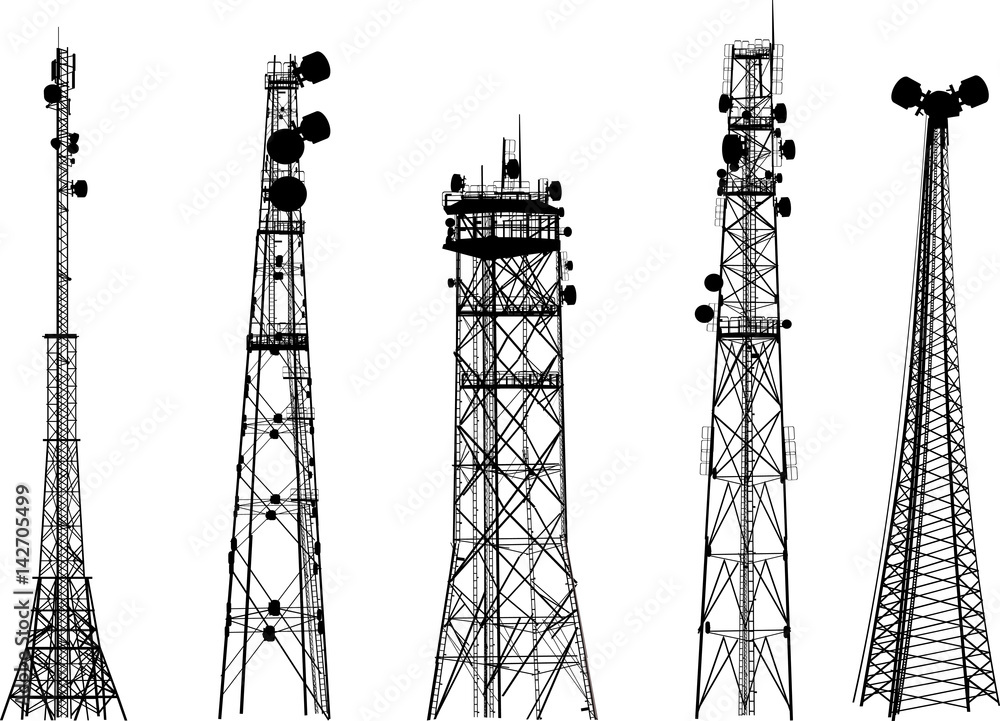 Fototapeta group with five antenna tower silhouettes on white