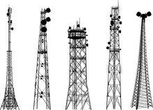 Group With Five Antenna Tower ...