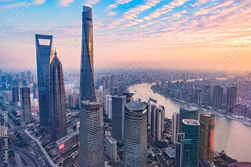 Canvas Print Aerial view of Shanghai city.