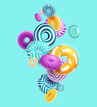 Multicolored Decorative Rings. Abstract Vector Illustration.
