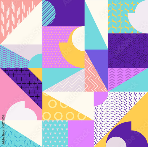 Cotton fabric Abstract multicolored geometric pattern