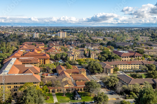 Aerial view of Stanford University Campus - Palo Alto, California, USA Canvas Print