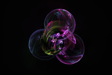 Abstract Fractal Bubbles In Purples And Pinks With Reflections, On Dark Background