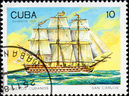 Poster  UKRAINE - CIRCA 2017: A postage stamp printed in Cuba shows sailing ship San Car