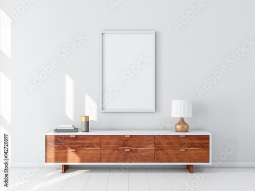 White poster frame hanging on the wall modern bureau with table