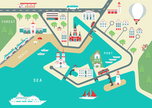 Vector Scheme Of Nonexistent Flat Seaside Town With Various Buildings, Bridges, Churches And Transport. Template For Tourist Map Of Resort City.