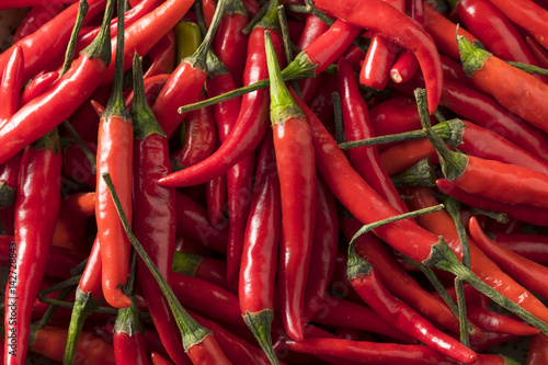 Canvas Print Raw Organic Red Thai Peppers