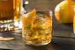 canvas print picture - Boozy Homemade Old Fashioned Bourbon on the Rocks