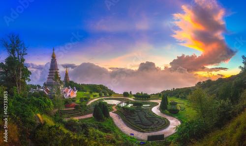 Poster Bangkok Phra Maha Dhatu Nabha Metaneedol,Pagoda at Doi Inthanon National Park, Chiangmai Thailand.