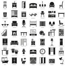 Room Furniture Silhouette Icon...