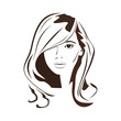 Beauty logo. Woman's face. Abstract concept. Flat design. Vector illustration on white background.
