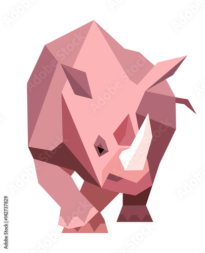 Pink rhinoceros in a geometric style
