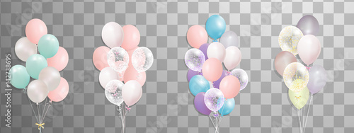 Foto Bunches and groups of colorful helium balloons isolated on transparent background