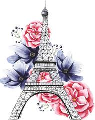 Париж Акварель Эйфелева башня в цветах