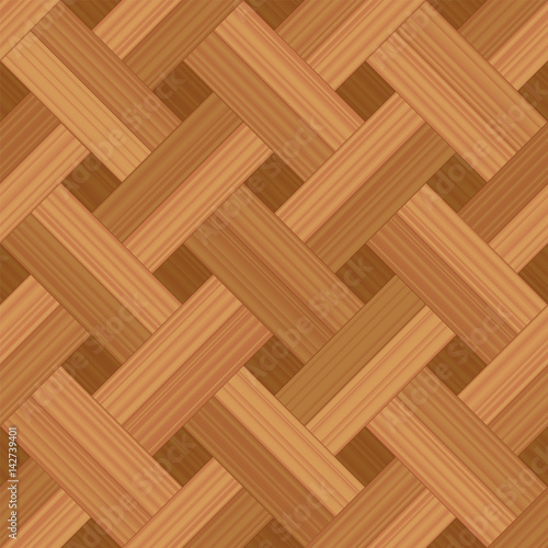 Fotografija  Parquet pattern, basket weave double row style - vector illustration of an extraordinary wood flooring pattern - seamless extension in all directions possible for an endless wallpaper background