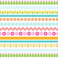 Colorful Tiny Flowers Stripes