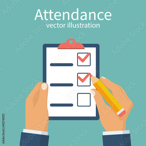 attendance concept businessman holding checklist and pencil