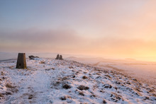 Winter Sunrise Of The Snowy Moors.