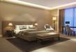 Contemporary beige mustard hotel bedroom in gold