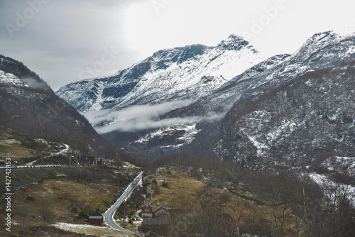 Deurstickers Scandinavië Natural winter landscape in Norway. Scenic view. European vacation destinations. Scandinavia March 2017