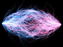Branched Lightning Discharge - Pink And Blue  Plasm