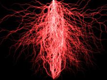 Branched Lightning Discharge - Red Plasm