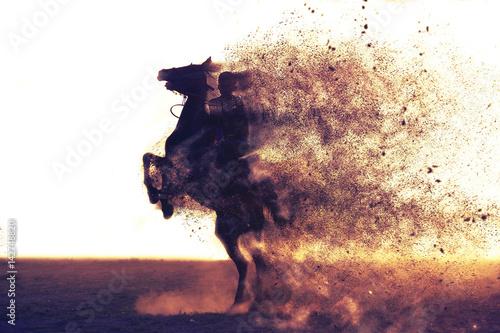 Photo gallope boy jokey dispersion effect horse riding
