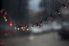 Colorful Christmas Bokeh Led Light At Night Rainy Day