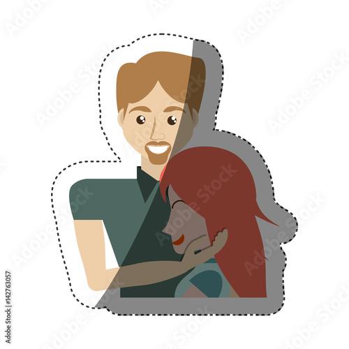 Fotografía  man caress girl lovely shadow vector illustration eps 10