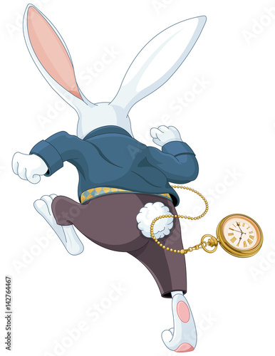 Tuinposter Sprookjeswereld White Rabbit Running Away