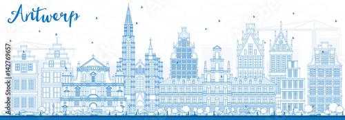 Poster Antwerp Outline Antwerp Skyline with Blue Buildings.