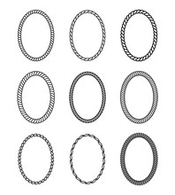 Vector Rope Set Of Oval Frames.