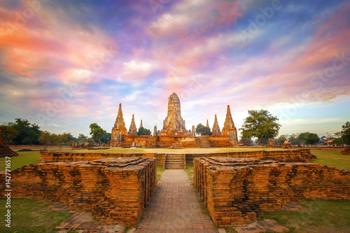 Wall Murals Temple Wat Chaiwatthanaram temple in Ayuthaya Historical Park, a UNESCO world heritage site in Thailand