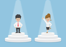 Businessman And Businesswoman Standing And Shining On Pedestal