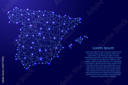 Cuadros en Lienzo Map of Spain from polygonal blue lines and glowing stars vector illustration