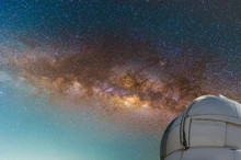 Observatory With Milky Way Galaxy, Long Exposure Photograph, With Grain.Image Contain Certain Grain Or Noise And Soft Focus. Color Tone Effect, Astronomy Concept.